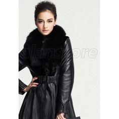 Latest Style Sheepskin Fur Overcoat For Women, Fur Overcoat With Fox Fur Collar, Medium And Long Length With Slim Design