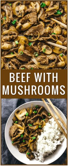 Easy beef with mushrooms and onions recipe, steak and mushrooms, sauce, sauteed mushrooms with red wine, sirloin steak, flank steak, stir fry, stroganoff, stew, paleo, crockpot, ground, soup, gravy, healthy, rice via @savory_tooth