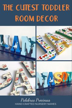 The cutest ideas for your toddler room. Custom designed just for you and him, these fun wall letters make his room truly unique #littleboyroom #toddlerboy #toddlerroom swallletters #namesign #letters #boygift #birthday Nursery Name Decor, Wood Nursery, Nursery Letters, Boys Bedroom Decor, Bedroom Ideas, Gifts For New Moms, Gifts For Boys, Wood Letters, Kids Letters