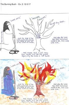 Burning Bush - Glue tissue paper onto a tree picture