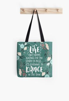 Soft polyester canvas shopping bag with edge-to-edge print on both sides. Fully lined for extra strength. Three sizes to choose from. Life Isn't About Waiting For The Storm To Pass, It's Learning To Dance in the Rain Printed Tote Bags, Cotton Tote Bags, Reusable Tote Bags, Rap Quotes, Trust Quotes, Funny Quotes, Life Quotes, Giving Quotes, Learn To Dance