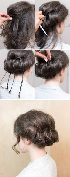 Wedding hair inspiration: An elegant tucked baby braids updo for the classic…
