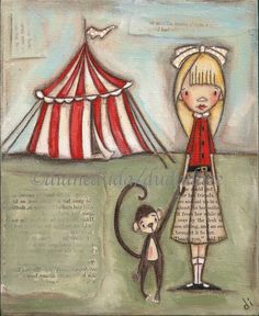 "Circus:  #Circus ~  ""Take My Hand, Little Monkey"" print of an original Folk Art Children's Painting."