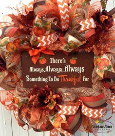ThanksgivingThankful Burlap Deco MeshWreath by TootsieSuesWreaths