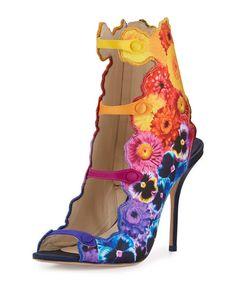 "Sophia Webster floral-print satin sandal. 4"" covered heel. Open toe. Strappy…"