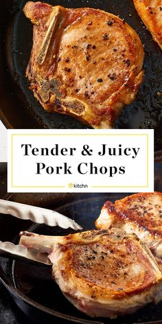 How To Cook Tender, Juicy Pork Chops Every Time. If you're looking for easy dinners you can make baked in your oven, try these perfect pork chops! Pork Chops Bone In, Juicy Pork Chops, Oven Baked Pork Chops, Brine For Pork Chops, Tender Pork Chops In Oven, Cooking Pork Chops, Pork Chops In Skillet, Thick Cut Pork Chops, Entrees
