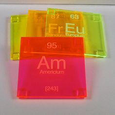 Neon Coasters  Single Elements by bplusshop on Etsy, $5.50