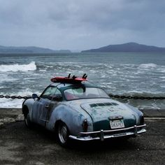 """Life - it is very beautiful when you get to know yourself, understand your surroundings, and have the best interaction between these two points."" -  Carlos Burle, big wave rider.  VW Karmann Ghia  #bigwaves #CarlosBurle #surfers #vwkarmann #ghia #karmann #saturdaymorning #inspirations #travels #porsche #porschestyle #riders #vintagecars #rustedcars #Padgram"