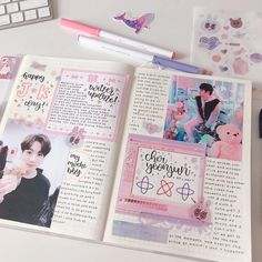 Image may contain: 1 person journal aesthetic, bullet journal journal pages, Bullet Journal Kpop, Bullet Journal Aesthetic, Bullet Journal Inspiration, Journal Pages, Journal Ideas, Bujo, Bts Book, Cute Journals, Planer