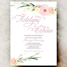 White pink wedding invitation watercolor flowers, printable wedding invitation. This invitation can come at any color you want, please check