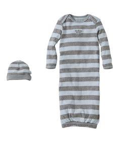 Look at this #zulilyfind! Sky Bold Stripe Organic Gown & Beanie - Infant #zulilyfinds