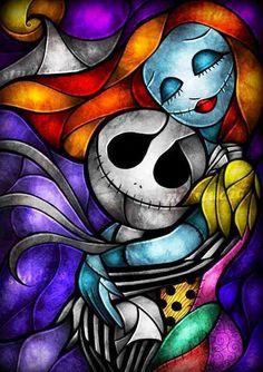 Nightmare Before Christmas' Jack and Sally stained glass artwork via www.Facebook.com/DisneylandForMisfits