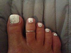 White and rhinestones pedicure. Simple but elegant. nail toe, white pedicure, big toe, toe nail, nail arts, toenail, nails toe, wedding nail, nail art toe