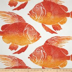 P Kaufmann Indoor/Outdoor Fish Orange from @fabricdotcom  Screen printed on polyester, this fabric (has a basketweave appearance) is laundered, anti-pill, anti-bacterial and anti-fungal, also holds up to 1500 hours of sunlight exposure.  Create decorative place mats, cushions, chair pads, deck chairs, toss pillows, tote bags and some upholstery. To maintain the life of the fabric bring indoors when not in use, this fabric can easily be cleaned by wiping down the fabric or hand washing with…