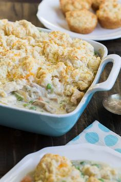 Chicken Cobbler with a light and fluffy cheese biscuit topping.