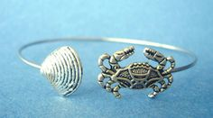 #Silver #crab #bracelet with a #shell, wrap style #handmade #thecraftstar $21.00
