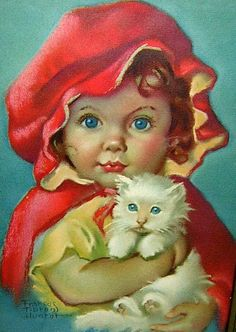 Vintage Illustration Frances Tipton Hunter – American) Little Red Riding Hood ■♤♡◇♧☆■ - Images Vintage, Vintage Cat, Vintage Pictures, Vintage Postcards, Photo Chat, Red Riding Hood, Little Red, Vintage Children, Retro