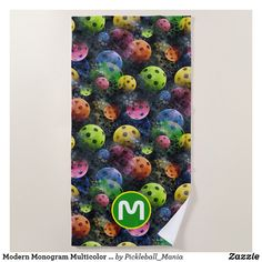 Modern Monogram Multicolor Pickleball Beach Towel