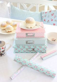 pastel paper covered stationery boxes