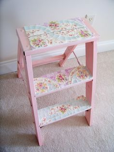 Pink Ladder #3 - wish I had kept my mothers small ladder she covered with fabric.