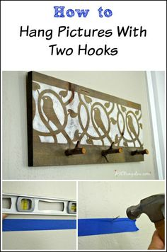 Easily hang picture frames with two hooks, on the first try and straight! This method is so easy, all you need to do it see the pictures of how I did it.