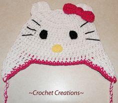 Crochet Hello Kitty Ear flap Hat       Enjoy this Hello Kitty Hat Pattern!                                     My Crochet You Tube Channel:...
