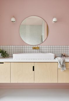 pin + insta // @ f o r t a n d f i e l d ♥ Australian home of interior stylist Emma O'Meara - pink 80's inspired bathroom
