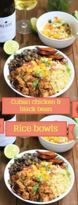 sing a potato masher, mash about half of the beans in the pan, then mix it all together. Cuban Chicken, Delicious Recipes, Yummy Food, Crispy Chicken Recipes, Rice Bowls, Yum Yum Chicken, Black Beans, Fried Rice, Meal Prep
