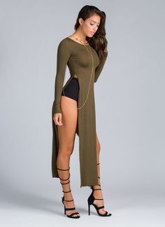 On The Double Side Slit Maxi Top OLIVE