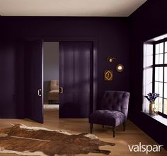 Valspar Colors of the Year 2017 Deep Purple Bedrooms, Purple Bedroom Paint, Purple Wall Paint, Dark Purple Walls, Purple Paint Colors, Purple Rooms, Black Rooms, Black Walls, Bedroom Colors