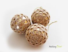 SALE 3 Crocheted Baubles in Gold Christmas Tree Decorations £9.00