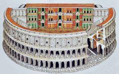Teatro de Marcelo  Despois de que Pompeio mandara construir no ano 55 a.C. o primeiro teatro permanente de pedra, viñeron o teatro de  Balbo e o de Marcelo, na fotografía. Construido por orde de Augusto, leva o nome do seu sobriño, a quen pretendía  nomear herdeiro, pero que morreu antes de cumprir os vinte anos. Situado no centro de Roma, obsérvese como na  actualidade o último piso está ocupado por vivendas particulares.
