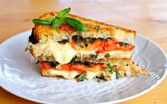 Caprese Grilled Cheese...just add a drizzle of balsamic and you're good to go!!
