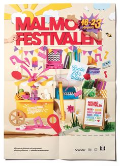 Snask creates giant poster for Malmö Festival Graphic Design Projects, Graphic Design Inspiration, Design Art, Cover Design, Event Posters, Creative Review, Paper Illustration, Paper Artwork, Swedish Design