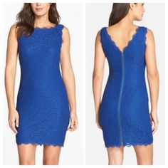 Adriana Papell blue lace dress Gorgeous blue lace dress worn only once! Lace all over with an exposed zipper on back. Front neckline is a boat neck and back neckline is a V. Excellent condition, no tears, snags or stains. ❌ no trades ✅ offers welcome. Adrianna Papell Dresses