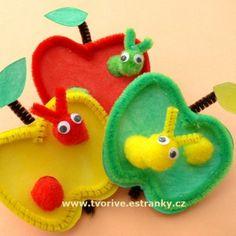 Stránky pro tvořivé - malé i velké - Podzim - Jablíčka s červíkem