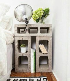 Cinder block night stand. I love the simplicity of this.