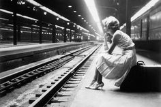Waiting for the train at Union Station, c.1960, Chicago.
