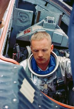 Astronaut Neil Armstrong, the first man on the Moon in his Gemini 8 Space Capsule.