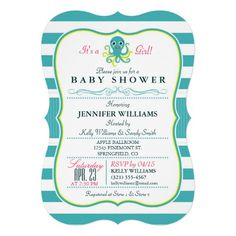 Turquoise & Yellow Octopus Baby Shower Invitation