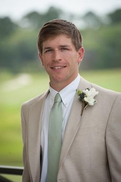 The Groom in Tan and Sage #groom