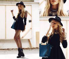Romwe Dress, Choies Necklace, La Moda Uk Bag, Mini Minou Hat - It's monday don't forget to be awesome - Anila ♡