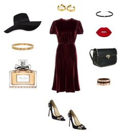 """red luxurious"" by explorer-14775942126 on Polyvore featuring Valentino, Jimmy Choo, San Diego Hat Co., Cartier, Lime Crime, Carbon & Hyde and Christian Dior"