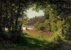 """""""Landscape in Kemiö"""" """"Maisema kemiöstä"""" (1880) By Fanny Maria Churberg, Finnish painter and one of the great masters of her time (1845–1892) oil on canvas; 33.5 x 46.5 cm; 13.2 x 18.3 in Place of creation: Kemiö. Kemiö is located in the province of Western Finland Private Collection"""
