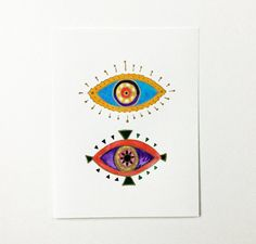 Evil Eye. Modern Boho. Decor. Watercolor Art Print.