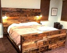 Rustic headboards for beds wooden bed king headboard wood ideas Queen Size Headboard, King Size Bed Frame, Queen Headboard, Headboard And Footboard, Headboards For Beds, Queen Bedding, King Comforter, Comforter Sets, Rustic Wood Headboard