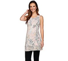 LOGO Layers by Lori Goldstein Printed Knit Top with Chiffon Trim