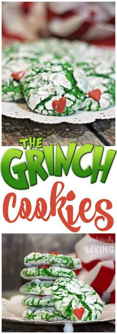 He may be a mean one, but these Grinch party ideas are sure to put a smile on even that old Grinch's face. If you are throwing a Christmas party this year.a Grinch party is the way to go! Grinch Cookies, Holiday Cookies, Holiday Treats, Christmas Treats, Holiday Recipes, Holiday Foods, Grinch Party, Grinch Christmas Party, Christmas Christmas