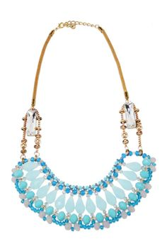 This gorgeous beaded necklace features blue hand stitched beading. Pair this with a simple romper and sun hat for a gorgeous chic boho look! Add a pop of color with this necklace.   Jeweled Bib Necklace by Glam Squad Shop. Accessories - Jewelry - Necklaces - Statement Necklaces Las Vegas