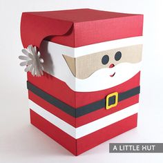 Santa Box Peep gift box SVG files for cutting machines by Patricia Zapata for A Little Hut